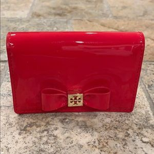 Tory Burch red patent bow card case